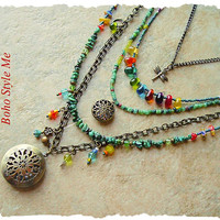 Bohemian Necklace, Boho Colorful Gypsy Cowgirl, Vintage Style Brass Locket, Multiple Strands, Boho Style Me, Kaye Kraus