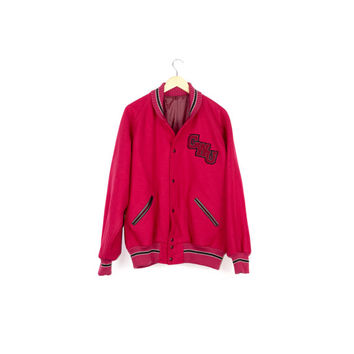 Washington Varsity Jacket / 100% wool / red / CWU / central washington university / wildcats / plain / basic / classic / athletic / L -XL