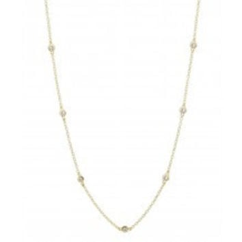 18K Gold Plated CZ Station Chain Necklace