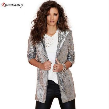 2016 Spring New Shine On Both Sides Of The Big Pocket Commuter Sequined Cardigan Jacket Women Coat Fashion Blazers A516