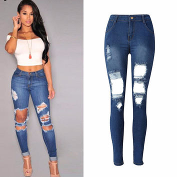 High Waist Denims Boyfriend Hole Ripped Jeans c0042