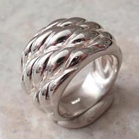 Sterling Silver Band Ring Basket Weave Puffy Milor Italy Size 7 Vintage CW0301