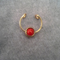 Red Custom Septum  captive ball Nose Ring Cuff  No Piercing Required-faux nose ring- For Him/ For Her