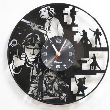 STAR WARS CLOCK vinyl record wall clock record clock Star Wars wall decor Star Wars decal vinyl record art Star Wars vinyl clock Star Wars