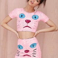 DI$COUNT TRA$H Pink Kitty Sequin Crop Top