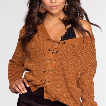 Lyla Lace Up Sweater - Camel