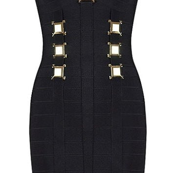 Loaded Lattice Dress | Herve Leger Black Gold Bandage Dresses | RicketyRack.com