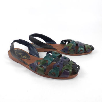 Leather Woven Sandals Vintage 1980s Blue Green Huaraches Women's size 5 M