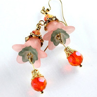 Peach Lucite Flower Earrings, Crystal, Glass, Vintage Style Floral Jewelry