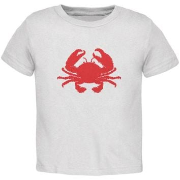 DCCKJY1 Summer - Crab Faux Stitched White Toddler T-Shirt