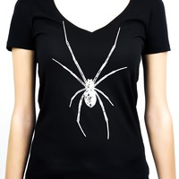 White Print Black Widow Spider Women's V-neck Shirt Top Gothic Clothing