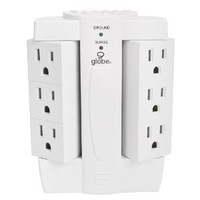 6 Outlet Swivel Surge Protector Wall Tap, 2100 Joules, White Finish, Globe Electric 7732001