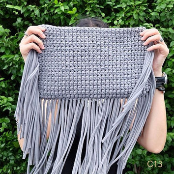 Summer Hippie Crochet fringe bag purse Cross-body Bag Crochet Beach bag Summer bag Cross body Purse Black Beach Summer Purse Hobo Festival