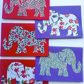 Set of Handmade Liberty Floral Print Elephant Cards - Blank - Pack of 5 :) - Thank You / Happy Birthday / Congratulations / Valentine