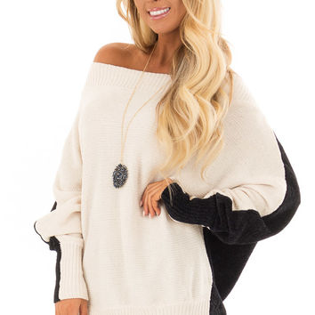 Cream and Onyx Color Block Sweater with Long Dolman Sleeve