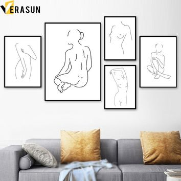 VERASUN Line Drawing Sexy Girl Minimalist Art Canvas Painting Poster Black White Wall Pictures For Living Room Modern Home Decor