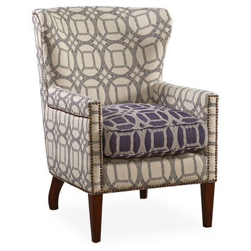 Charleston Wingback Chair, Gray/Navy, Wingbacks