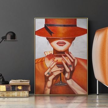 Modern Elegant Lady Canvas Painting Top Hat Girl Poster And Print Wall Art Pictures For Living Room Aisle Studio Home Decor HD