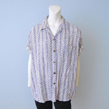 Vintage 1990's ESPRIT Button Down Blouse Top Shirt Short Sleeve Blue and Off-White Geometric Abstract Tribal Pattern Size Medium