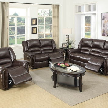 Poundex F6753-54 2 pc samantha iii collection brown bonded leather upholstered sofa and love seat set with nail head trim