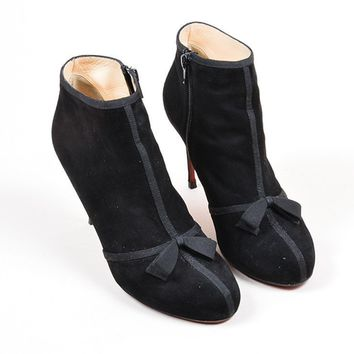 QIYIF Black Christian Louboutin  Arnoeud  Suede Bow Booties