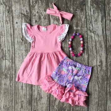 4 pcs Baby and Toddler Girls Unicorn Ruffle Shorts Outfit Set