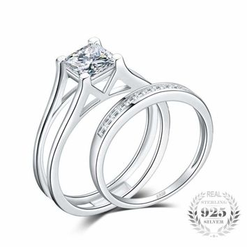Princess Cut Solitaire Ring Set 925 Sterling Silver