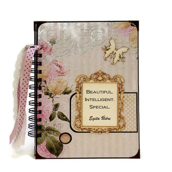 Shabby Roses Journal Book, Cottage Chic Writing Journal, Personalized Diary Journal, Custom Notebook, Gift For Her