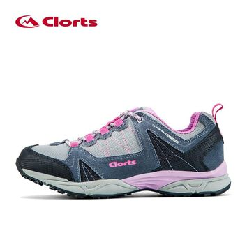 Clorts Low-cut Breathable Trekking Shoes Waterproof Hiking Shoes for Women Leather Mountain Hiking Boots 3D028C