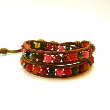 Beaded Wrap Bracelet, Red Bracelet, Western Cowgirl Jewerly, Leather Wrap Bracelet, Cuff Bracelet, June Trends, Multi-Colored Bracelet