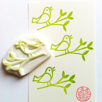 bird rubber stamp. twig stamp.  hand carved rubber stamp. bird on a tree branch.