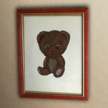 Adorable Teddy Bear Drawing Baby Bedroom Decor Cute Nursery Art Charcoal Drawing Baby Boy Baby Girl Playful Simple Furry Brown Children Bed