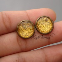 Gold rush antique brass post earrings