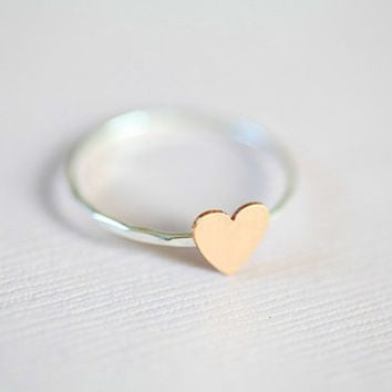 Just a tiny heart ring  sterling silver ring with a by moncadeau