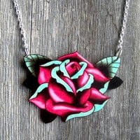 Vintage Big Rose Tattoo Necklace