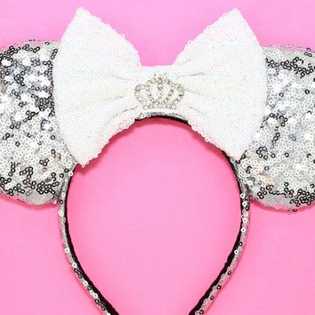 Silver Sequin Ears and White Bow and Rhinestone Crown