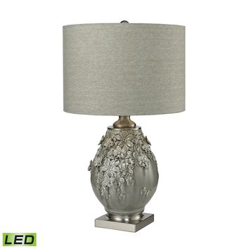 D2609-LED Hand Formed Foliage LED Table Lamp in Grey Glazed Ceramic