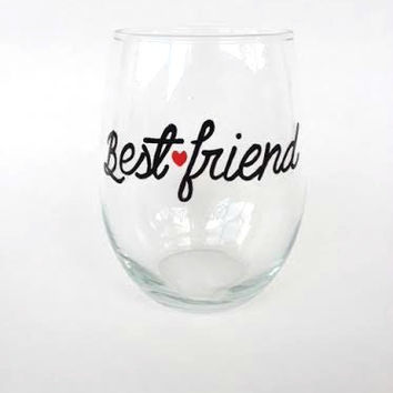 Best Friend hand-painted stemless wine glass tumbler