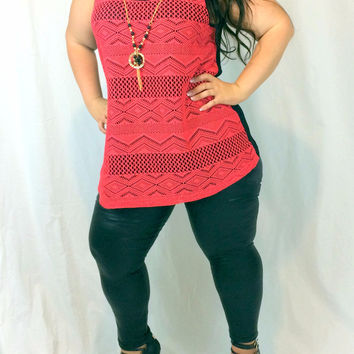 Women's Curvy Coral Knit Top in Plus Sizing