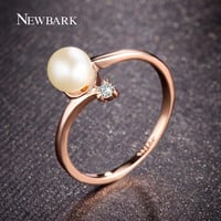 NEWBARK Fashion 18k Rose Gold Plated 1Pcs Simulated Pearl And 1pcs Tiny Rhinestones Accent Bypass Rings For Women