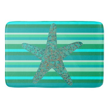 Beach Blue & Green Stripes Starfish Bath Mat