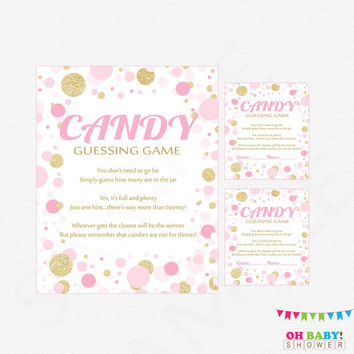 Pink and Gold Baby Shower, Candy Guessing Game, Pink and Gold Confetti, Guess how many candies, Girl, Printable Instant Download, CB0003-PG