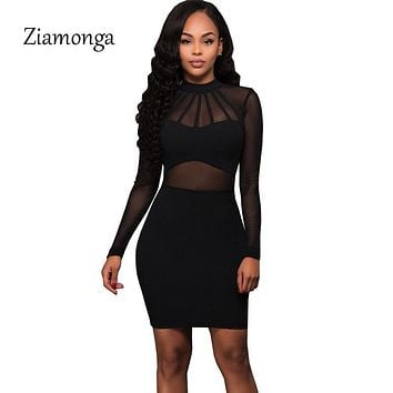 Ziamonga Women Summer Bandage Dress 2017 Black Long Sleeve Mesh Sheer Tunic Party Dresses Sexy Club Wear Bodycon Bandage Dress