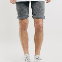 Black Acid Wash Skinny Shorts - Topman