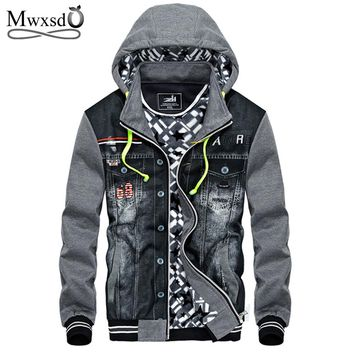 Mwxsd winter thick cotton Jacket men hooded sportswear Casual fashion Jackets Hoodies Cowboy Mens Jacket and Coat
