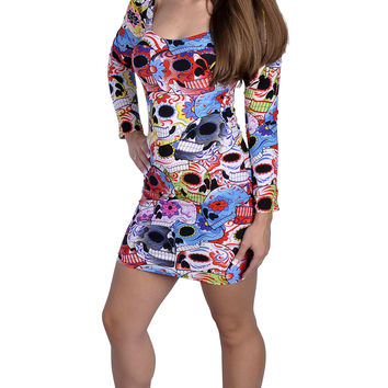 BadAssLeggings Women's Sugar Skulls Long Sleeve Mini-Dress Medium
