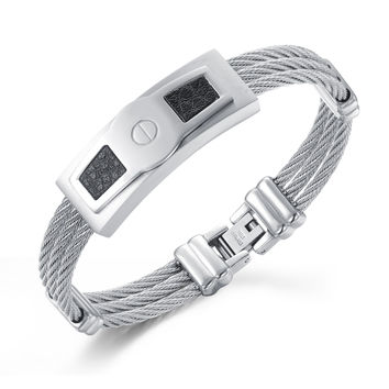 Creative and classic Three rings steel wire braided rope wristband Man's bracelet