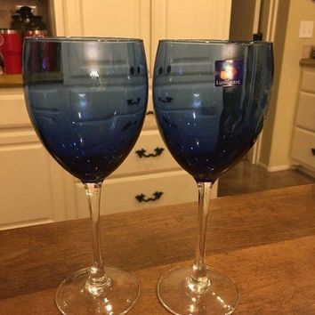 Set of 2 - Luminarc France Blue CLEAR Stem 12 oz Replacement Wine Glasses Rare