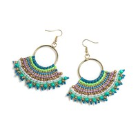 Beaded Crescent Statement Earrings