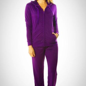 Purple French Terry Hoodie Jacket and Pant Set